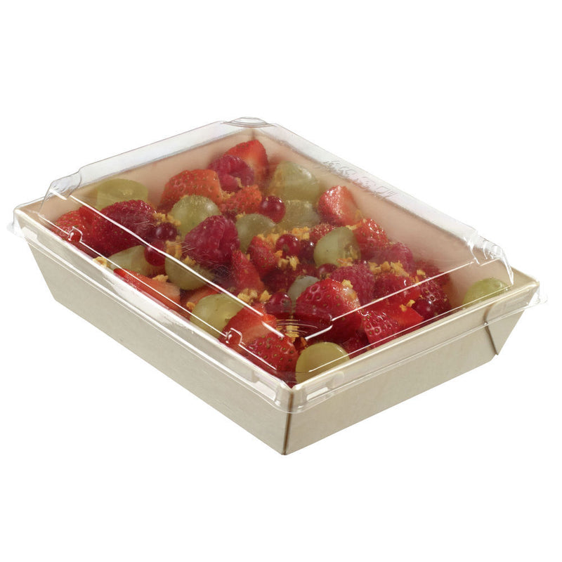 Rectangular Laminated Wooden Punnet Take Away Box with PET Lid 70cl - Box of 200
