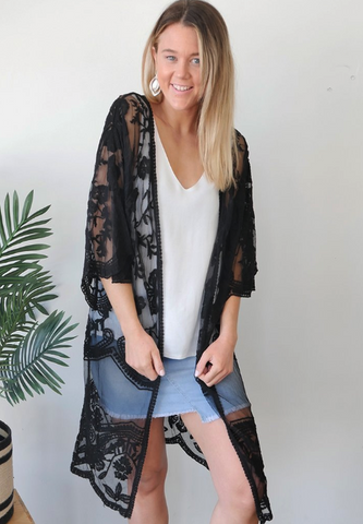 Wilderstein Lace Kimono in both black and white