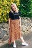 UNDER YOUR SPELL MIDI SKIRT - LEOPARD