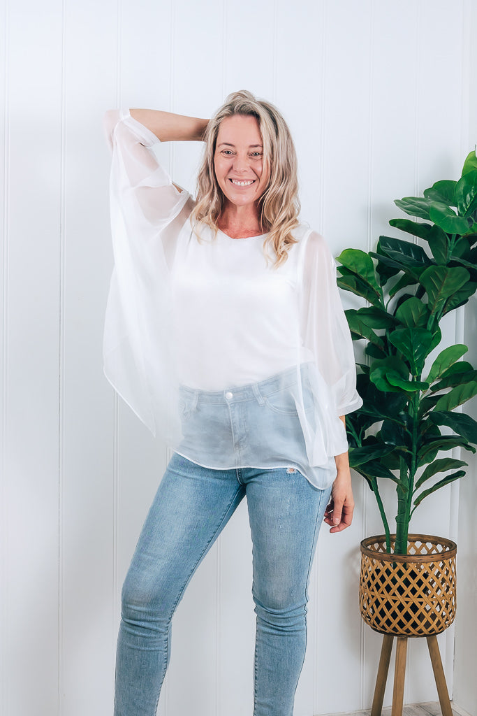 ALLIA SILK COLD SHOULDER TOP - PEARL WHITE