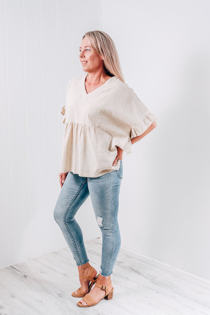 TIANNA RUFFLE SLEEVE TOP - NATURAL