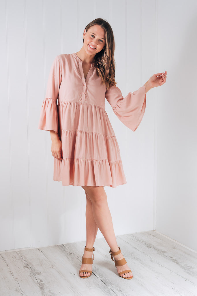 ASHARI BABY DOLL DRESS - BLUSH