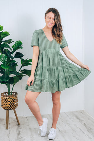 ASHARI BABY DOLL DRESS - SAGE