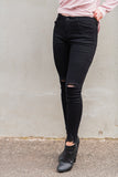 MILLY DISTRESSED SKINNY JEAN - BLACK