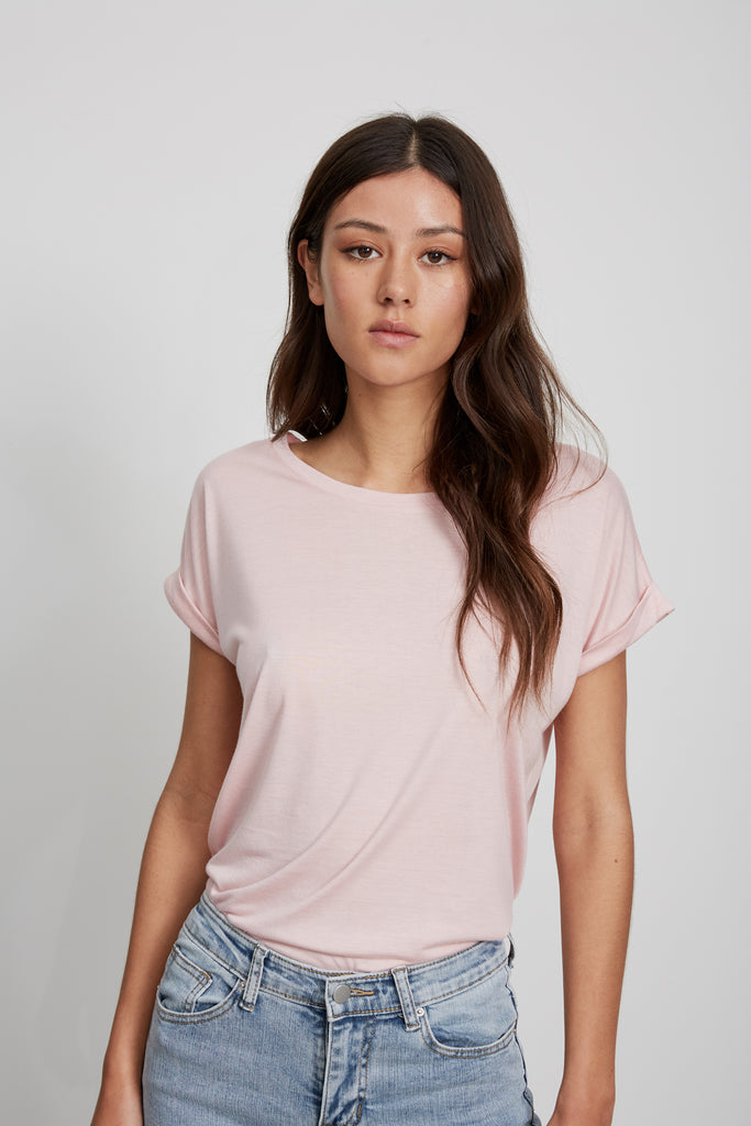 ROLL SLEEVE TEE - PINK