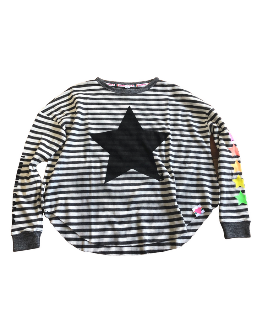 STRIPE STAR WAFFLE TOP - CHAR/WHITE
