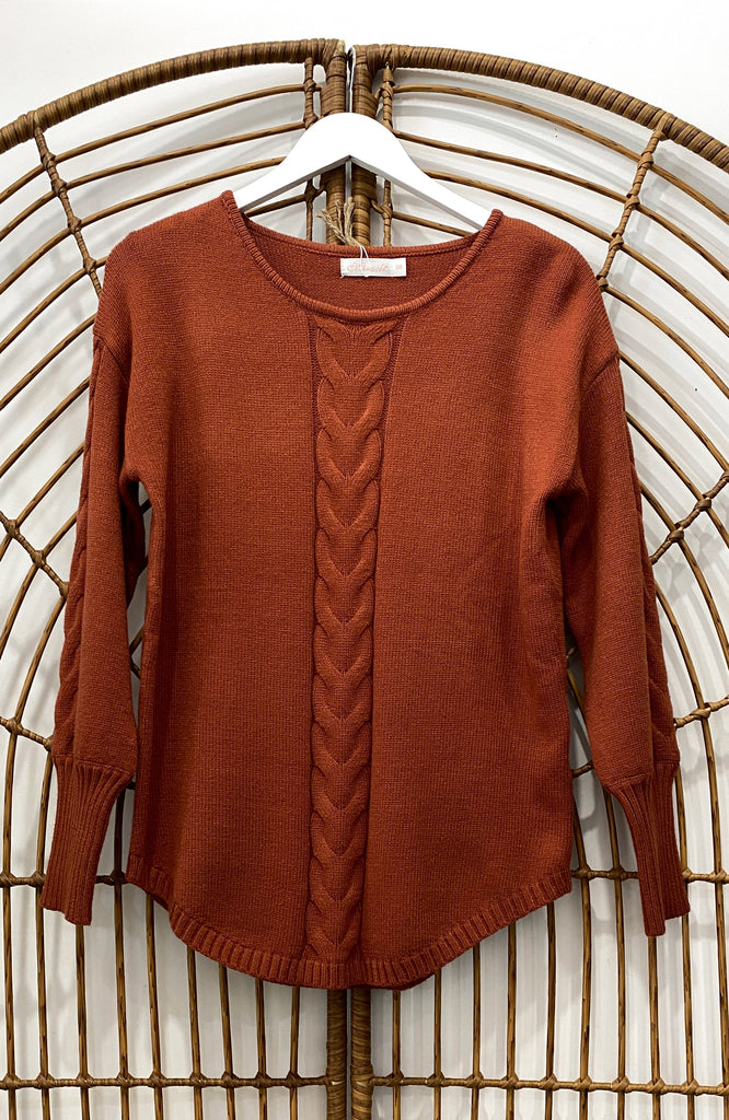 AURORA CABLE KNIT JUMPER - RUST