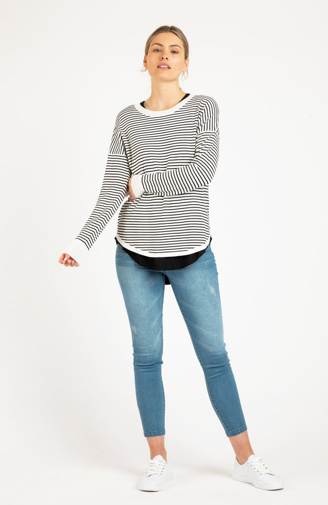 SOPHIE KNIT JUMPER - WHITE/BLACK STRIPE