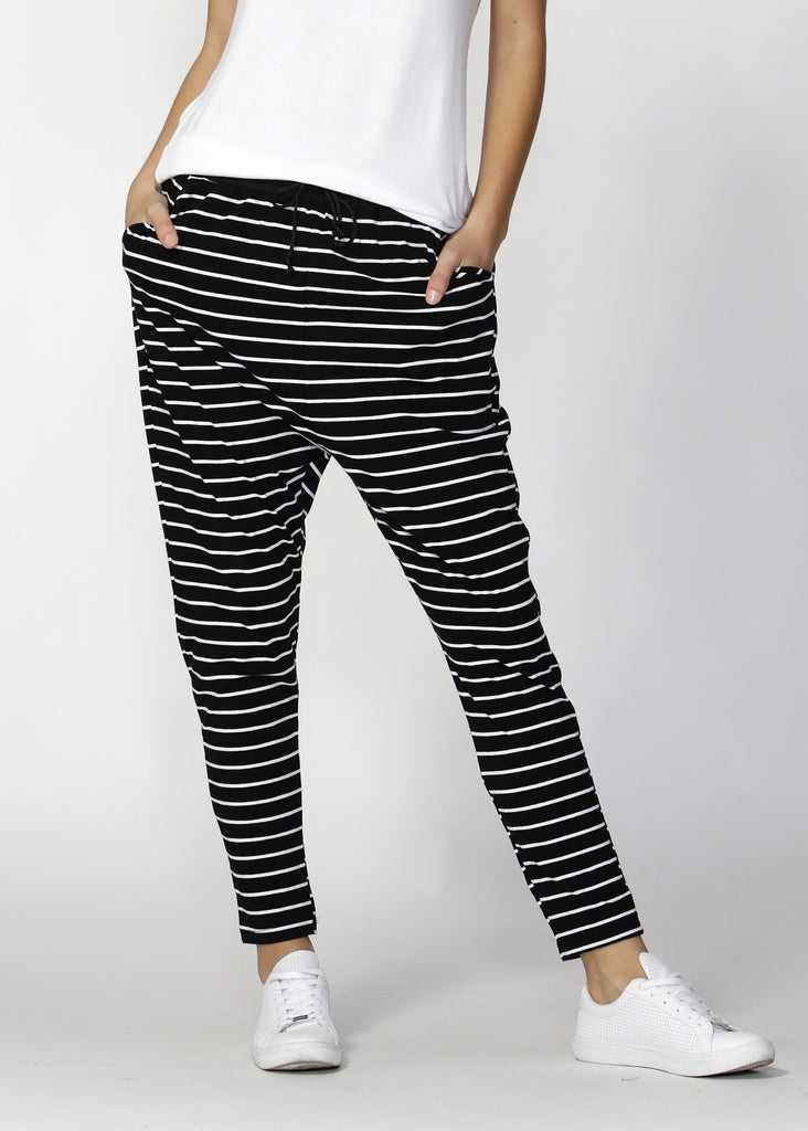 JADE PANT - BLACK/WHITE STRIPE