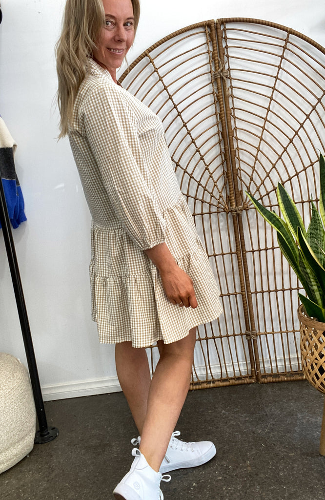 CARLY SHIRT DRESS - BEIGE GINGHAM