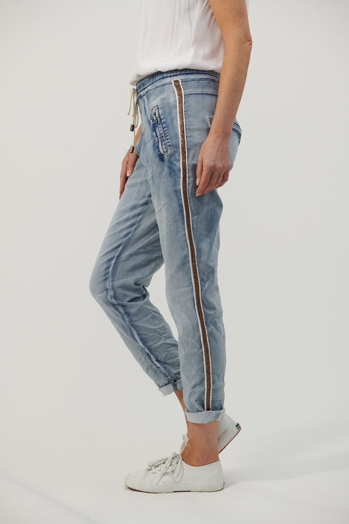 JUST RELAX GOLD TRIM DENIM JOGGER