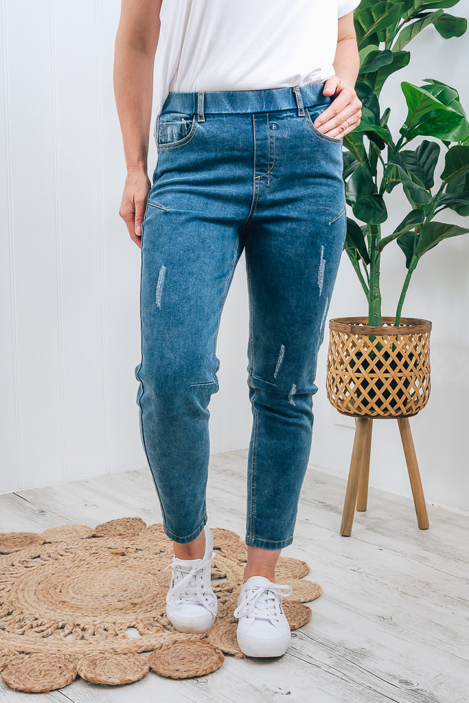 FINLEY DENIM JOGGER - DARK BLUE