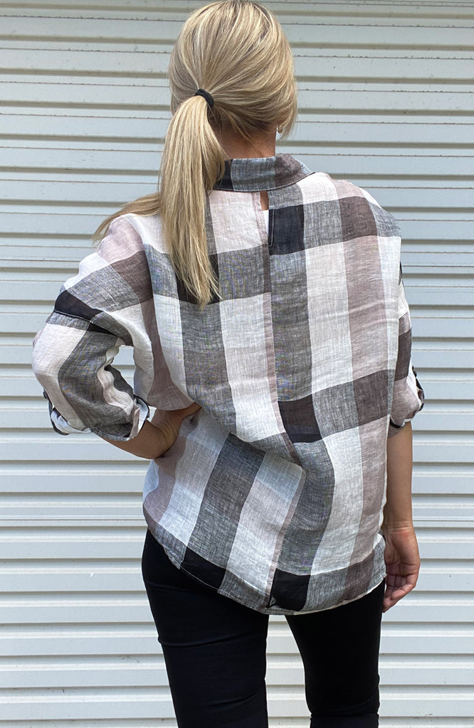 EMELIA LINEN SHIRT - BROWN CHECK