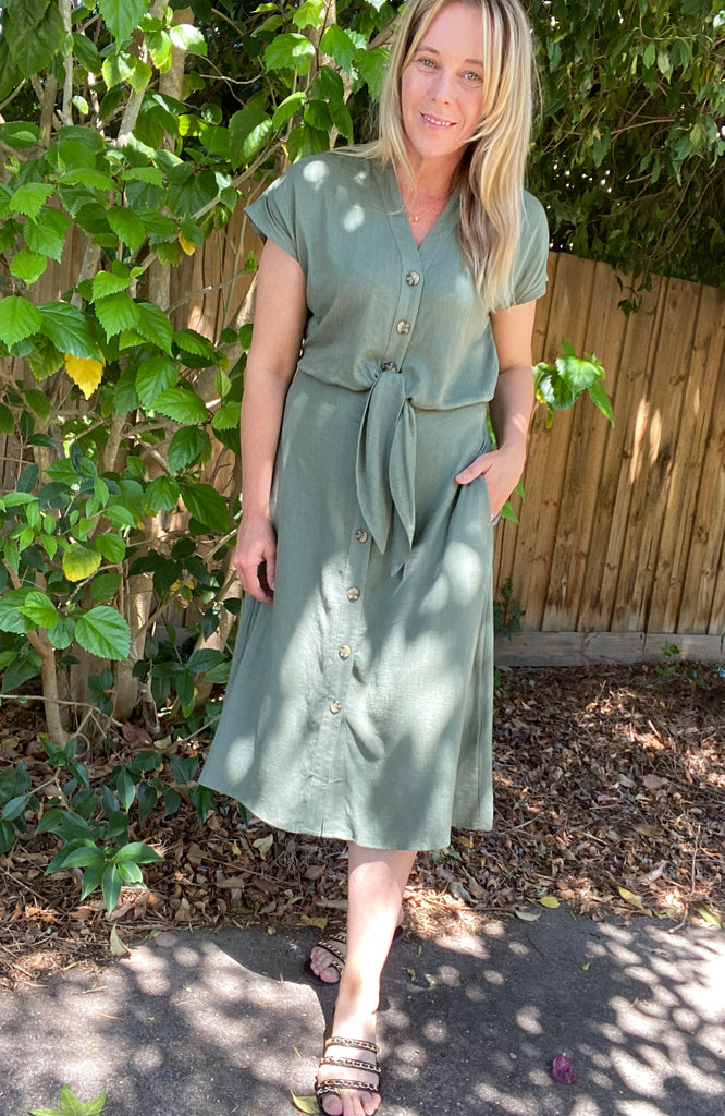 ANITA TIE FRONT MIDI DRESS - KHAKI