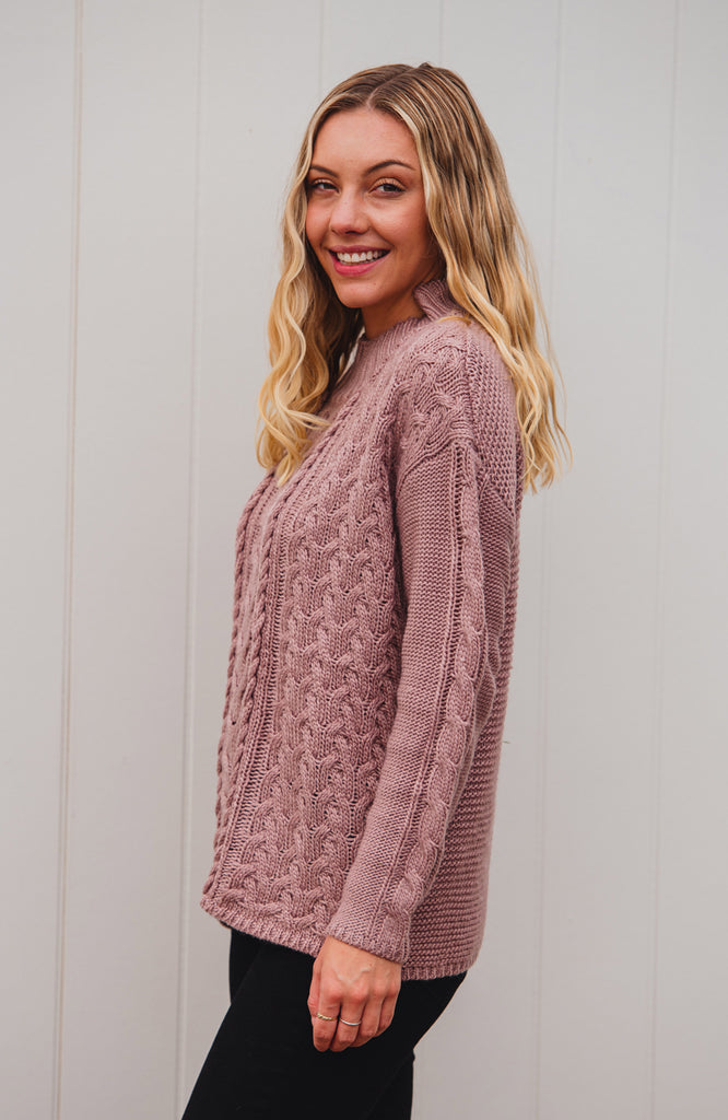 HOWARD CABLE KNIT JUMPER - DUSTY PINK