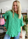 SOFIE LINEN FRILL TOP - GREEN CHECK