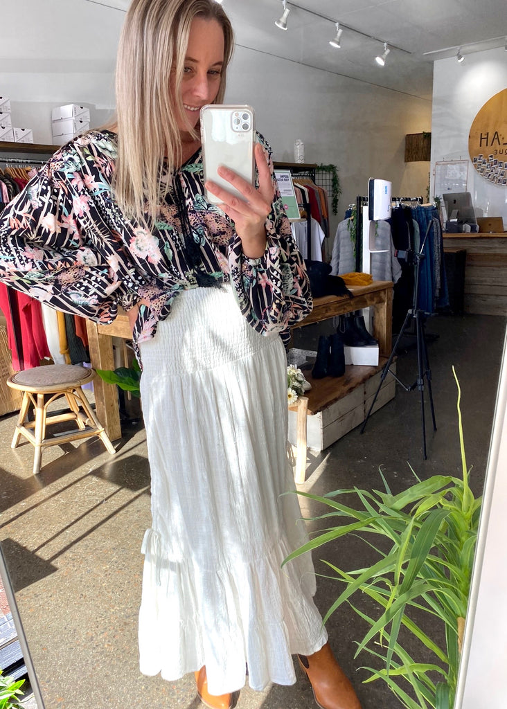 CELIA MAXI  SKIRT - WINTER WHITE