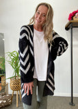 FORTUNE  CARDIGAN - BLACK PRINT