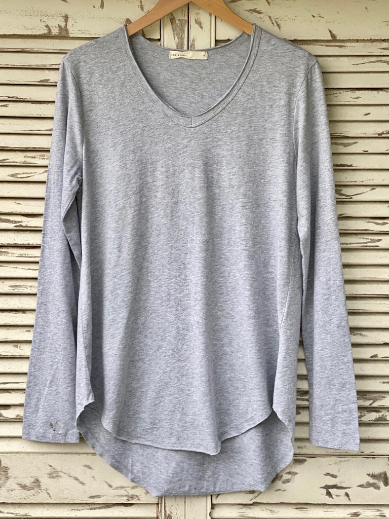 PORTSEA LONG SLEEVE TOP - GREY MARLE