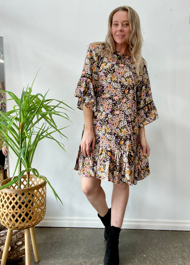 ALISHA DRESS - BLACK FLORAL MULTI