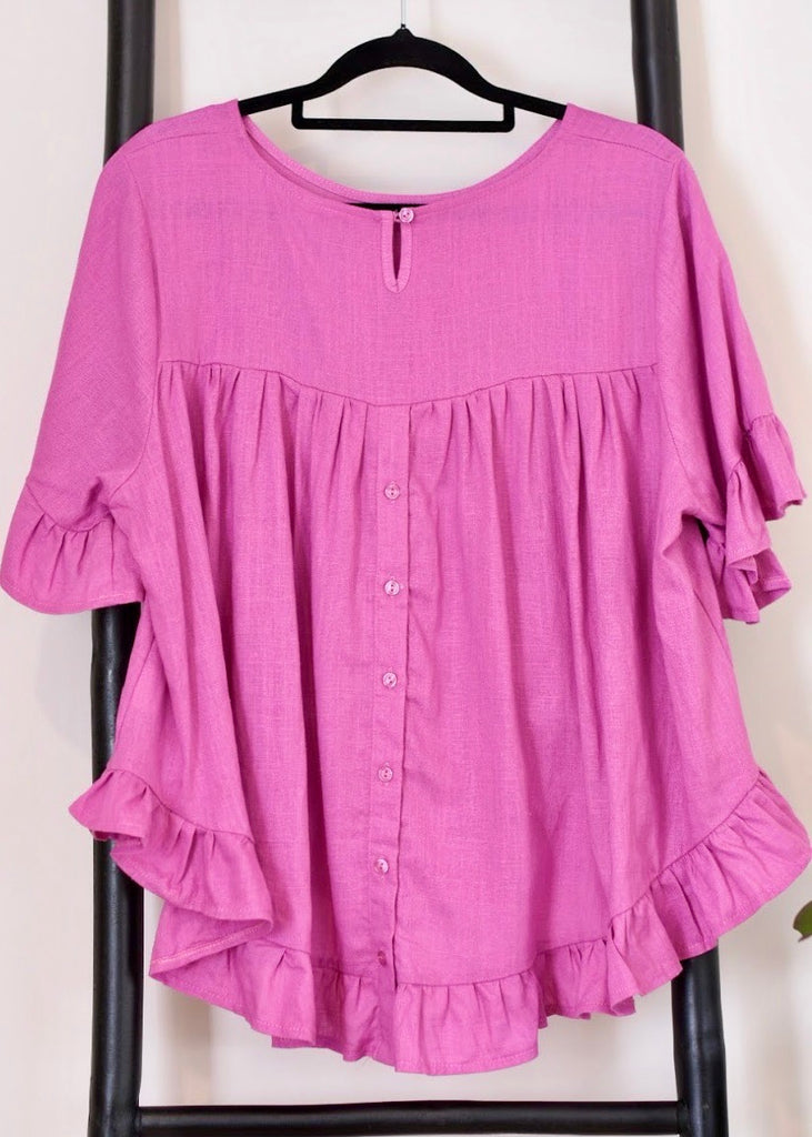 MARTHA FRILL TOP - HOT PINK