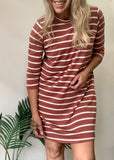 MARLOWE TEE DRESS - MULBERRY STRIPE