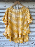 SOFIE LINEN FRILL TOP - SUNSHINE YELLOW CHECK