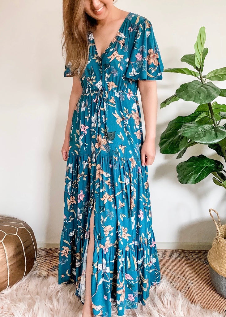 GIGI MAXI DRESS - TEAL FLORAL