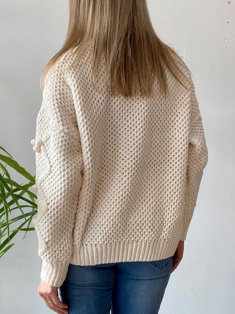 ZALIA BOBBLE KNITTED JUMPER - CREAM
