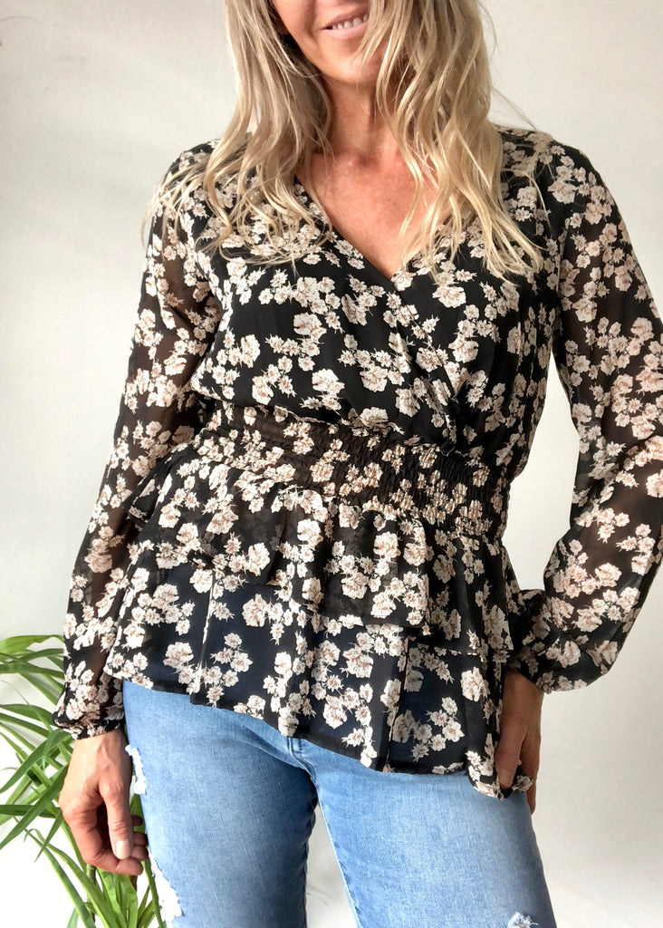 ARIEL LONG SLEEVE TOP - BLACK FLORAL