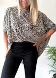PEGGY TOP - BLACK / GREY LEOPARD