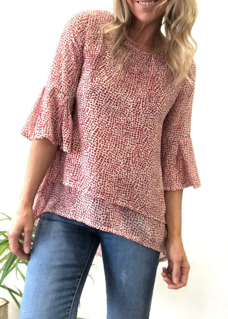 EDEN LAYER TOP - RED PRINT