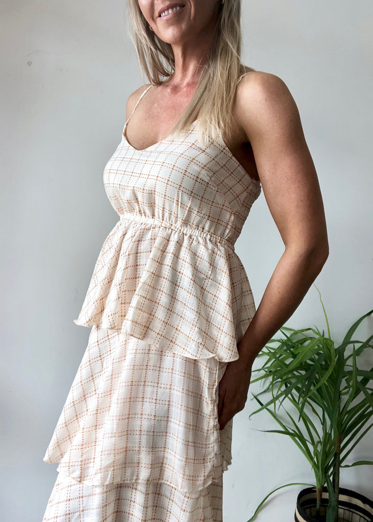 HALLIE DRESS - TAN / WHITE CHECK