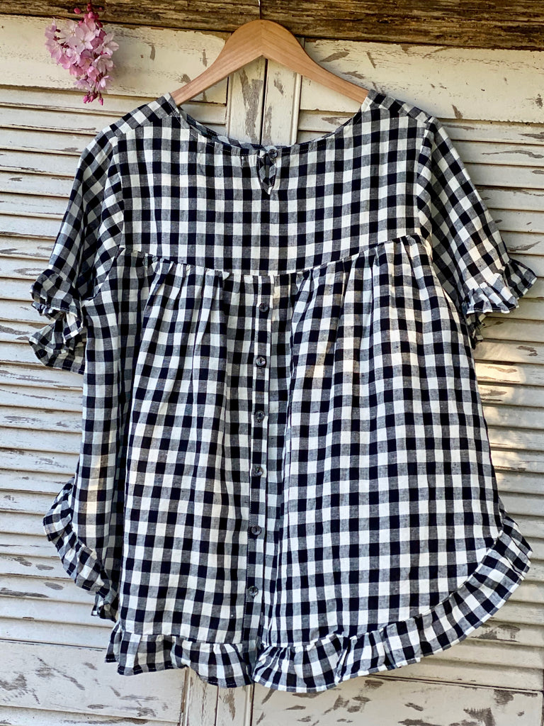 SOFIE LINEN FRILL TOP - BLACK CHECK