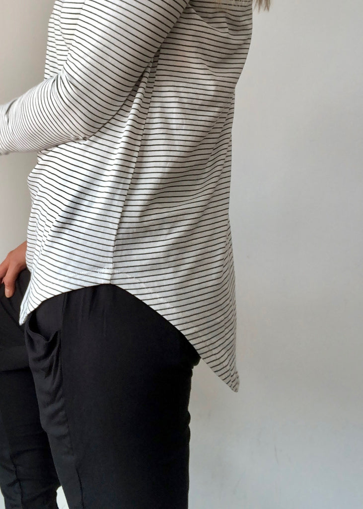 MEGAN LONG SLEEVE TOP - WHITE / BLACK STRIPE