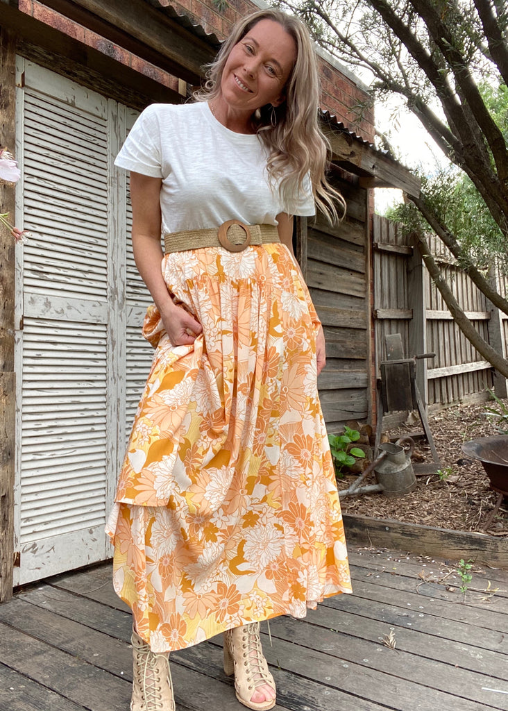 SUNSHINE MAXI SKIRT - SUNSHINE FLORAL