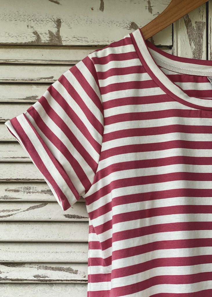 LIVY STRIPE TEE - ROSE / WHITE