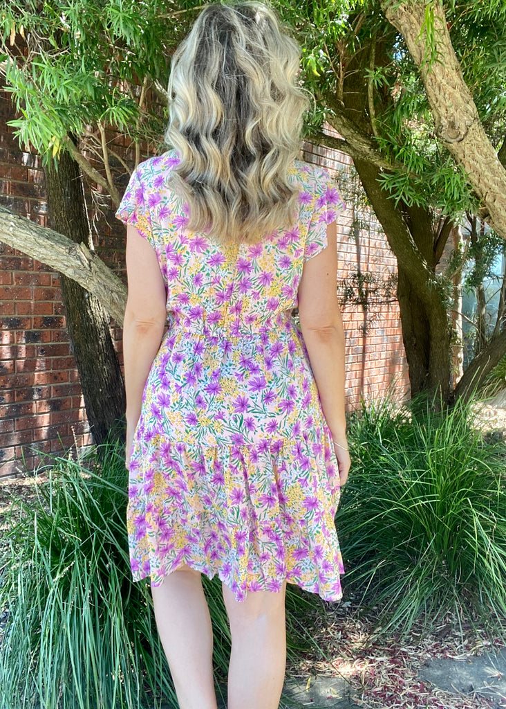 MILAN DRESS - PURPLE FLORAL