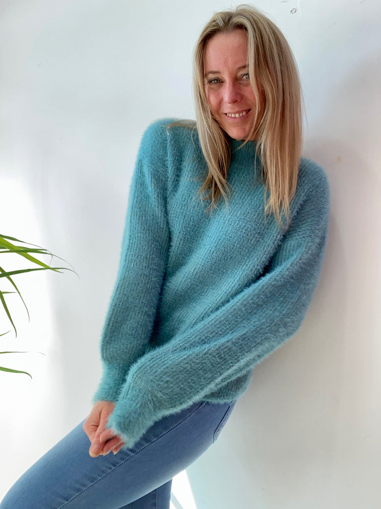 KENNEDY FLUFFY KNIT - TURQUOISE