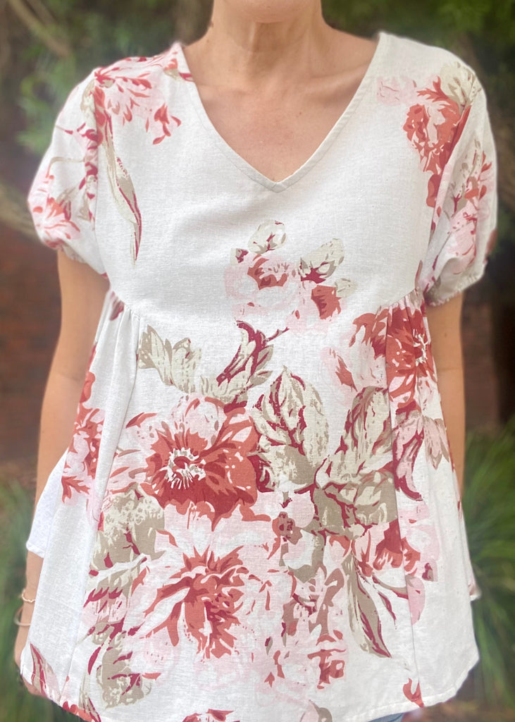 WALLFLOWER TOP - BEIGE FLORAL
