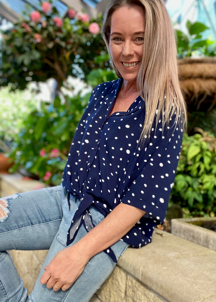 SARA TOP - NAVY POLKA DOT