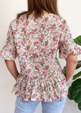 POLLY TOP - PINK FLORALS