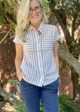 HARMONY SHIRT - LATTE STRIPE
