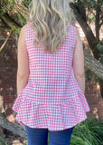 LARA LINEN TOP - RED CHECK
