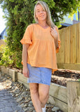 MADISON FRILL TOP - SUNSET ORANGE