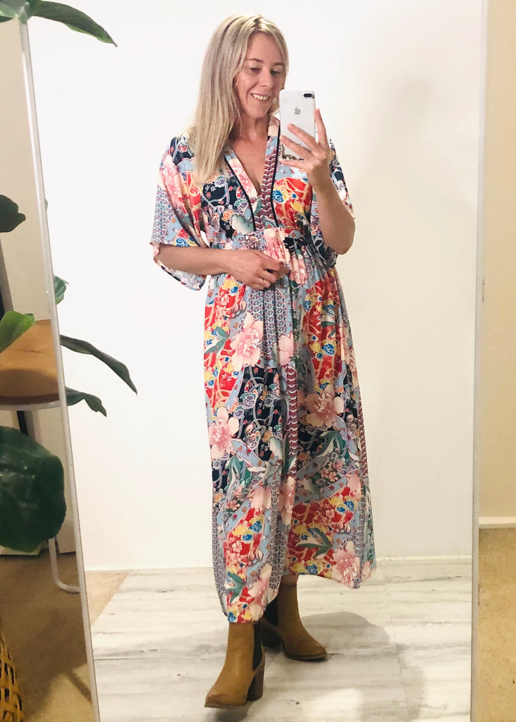 HEAVENLY GARDEN MAXI DRESS - MULTI PRINT