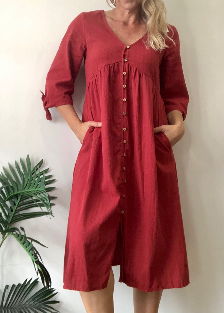 LIZA BUTTON DRESS - CLARET