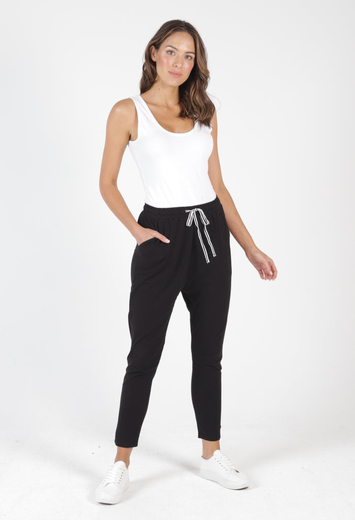 JADE PANT - BLACK WITH STRIPE DRAWCORD
