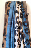 LEOPARD LIGHT WEIGHT SCARF - BLUE/CHOCOLATE
