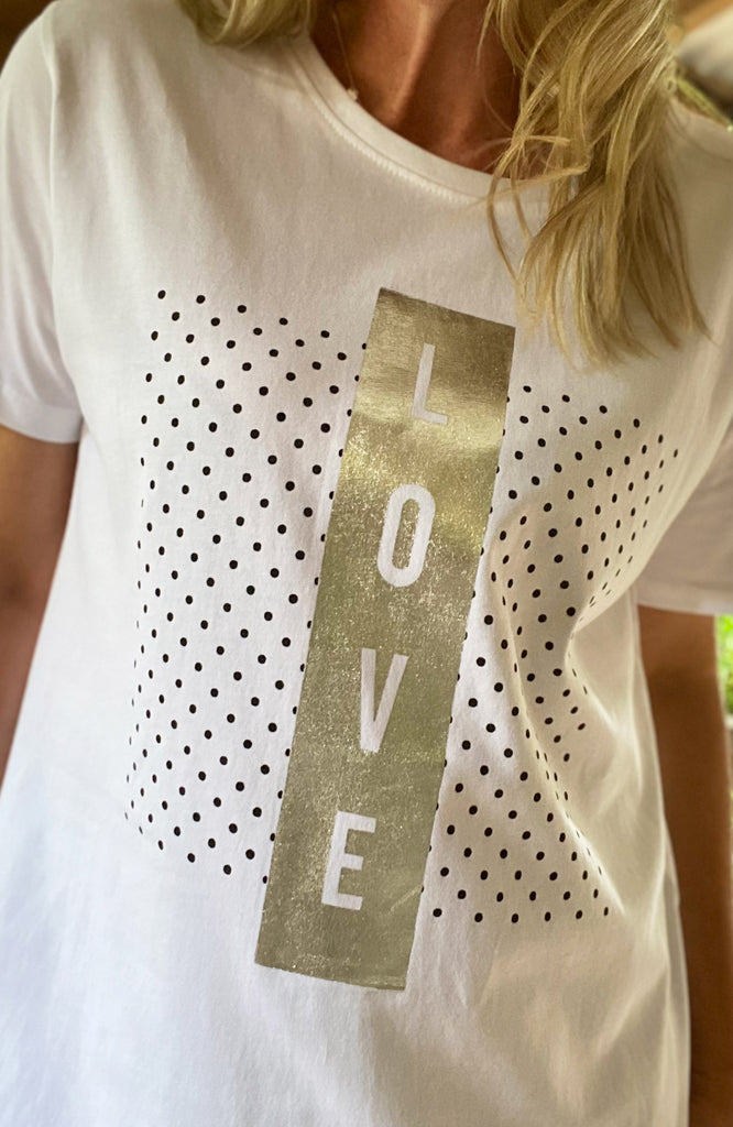 DOTTED LOVE TEE - WHITE/SILVER